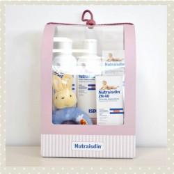 Canastilla Nutraisdin Rosa incluye: gel-champú 200 ml+loción corporal 200ml+Pomada ZN 40 50ml+sonajero de peluche