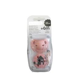 Suavinex chupete Anatómico de Látex +6 meses con Broche Redondo rosa1 unidad
