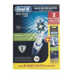 Oral B PRO 600 CrossAcion pack cepillo de dientes eléctrico + 2 recambios