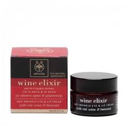 Apivita Wine Elixir crema antiarrugas de ojos y labios con vino tinto y cera de abeja 15 ml