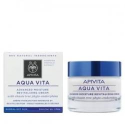 Apivita Aqua Vita crema hidratante 24 h pieles normales a secas con fitoendorfinas de agnocasto 50 ml