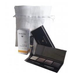Dr. Hauschka kit maquillaje de ojos: paleta de 4 colores + máscara de ojos 6 ml + leche limpiadora 30 ml