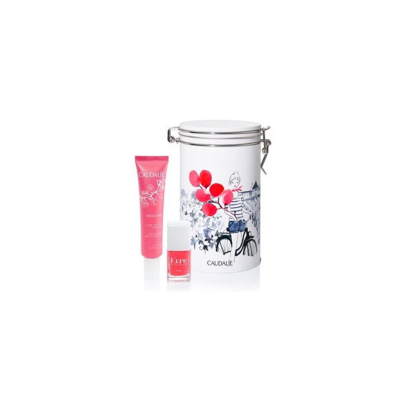 Caudalíe caja metal Globos Vinsource Fluido Matificante e Hidratante 40 ml + Regalo pinta uñas