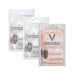 Vichy Pureté Thermale DOS UNIDADES de Mascarilla mineral de arcilla 2x6 ml + UNA UNIDAD de mascarilla peeling 2x6ml