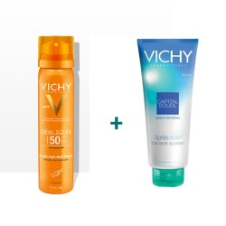Vichy Capital Soleil bruma hidratante invisible SPF50+ en spray 200 ml + after sun 100 ml+agua termal 50ml
